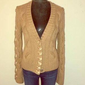 St. John Cable Knit Ribbon Trim Cardigan Sweater